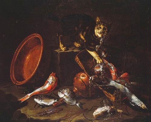 1 Giuseppe Recco (Italian, Neapolitan, 1634–1695) Cat Stealing Fish