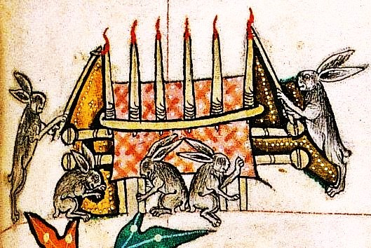 1 Sunday - Rabbits lighting the altar candles (BL, Add 49622, 14th c.)