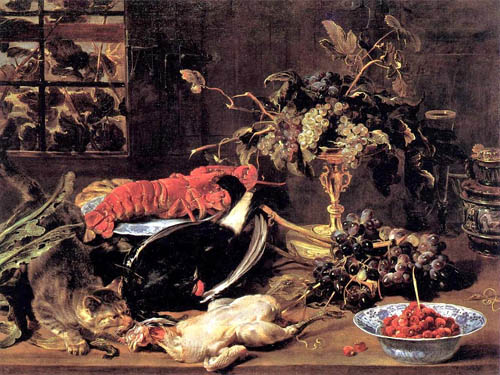 1h 2StillLife  Frans Snyders (Dutch artist, 1579-1657) Still Life with Lobster, Poultry, & Fruit
