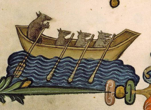 a Rats rowing (Ste-Geneviève, MS 143, 14th c.)