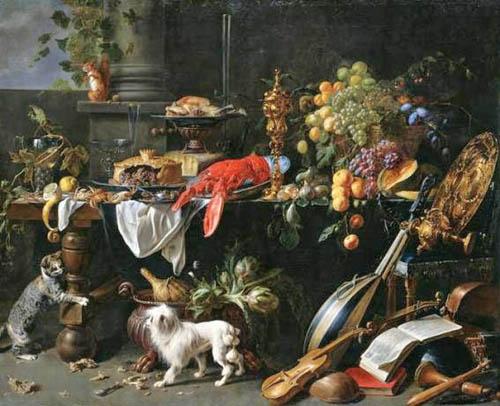 Adriaen van Utrecht (Flemish Baroque Era Painter, 1599-1652) Still Life with Dog and Cat