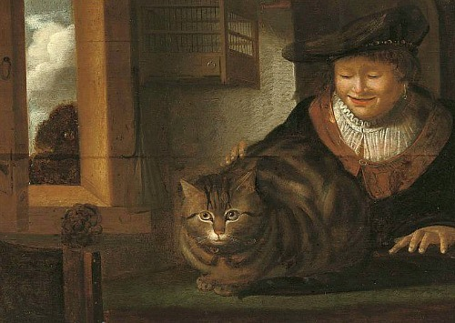 rembrandt-nasladowca-mezczyzna-glaszczacy-kota-XVIIw