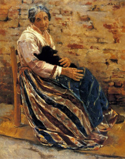 Max Liebermann, Old woman with a cat 1878, Getty Museum