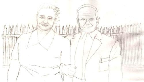 szkic babci i dziadka