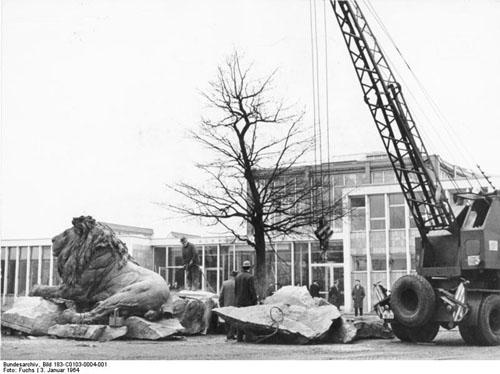 Zentralbild /Fuchs 3.1.1964 Die Löwen ... von Reinhold Begas finden vor dem Alfred-Brehm-Haus im Berliner Tierpark eine neue Heimstatt. Gegenwärtig werden sie hier aufgebaut.